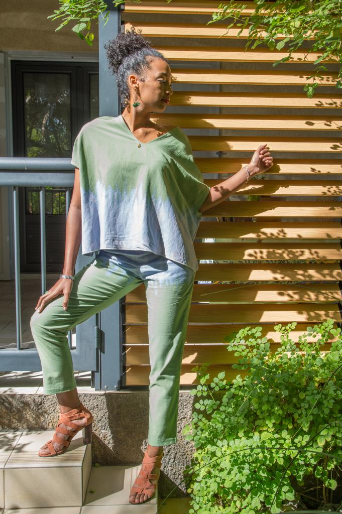 caftan court et pantalon droit  (tie and dye)