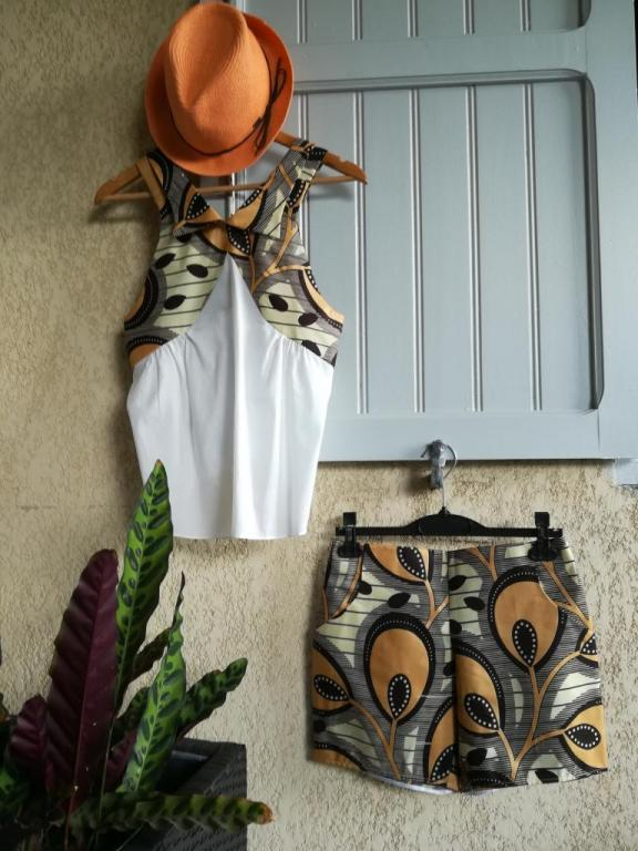 Top AFRO - Short en WAX - coloris safari
